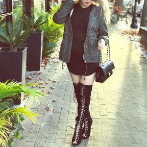 Black Fashion Nova Heel Boots, Lace-up
